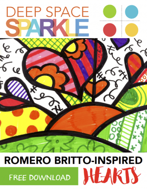 FREE Britto-Inspired Hearts Pop Art drawing guide
