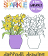 How to Draw a Daffodil in a Vase Free drawing handout
