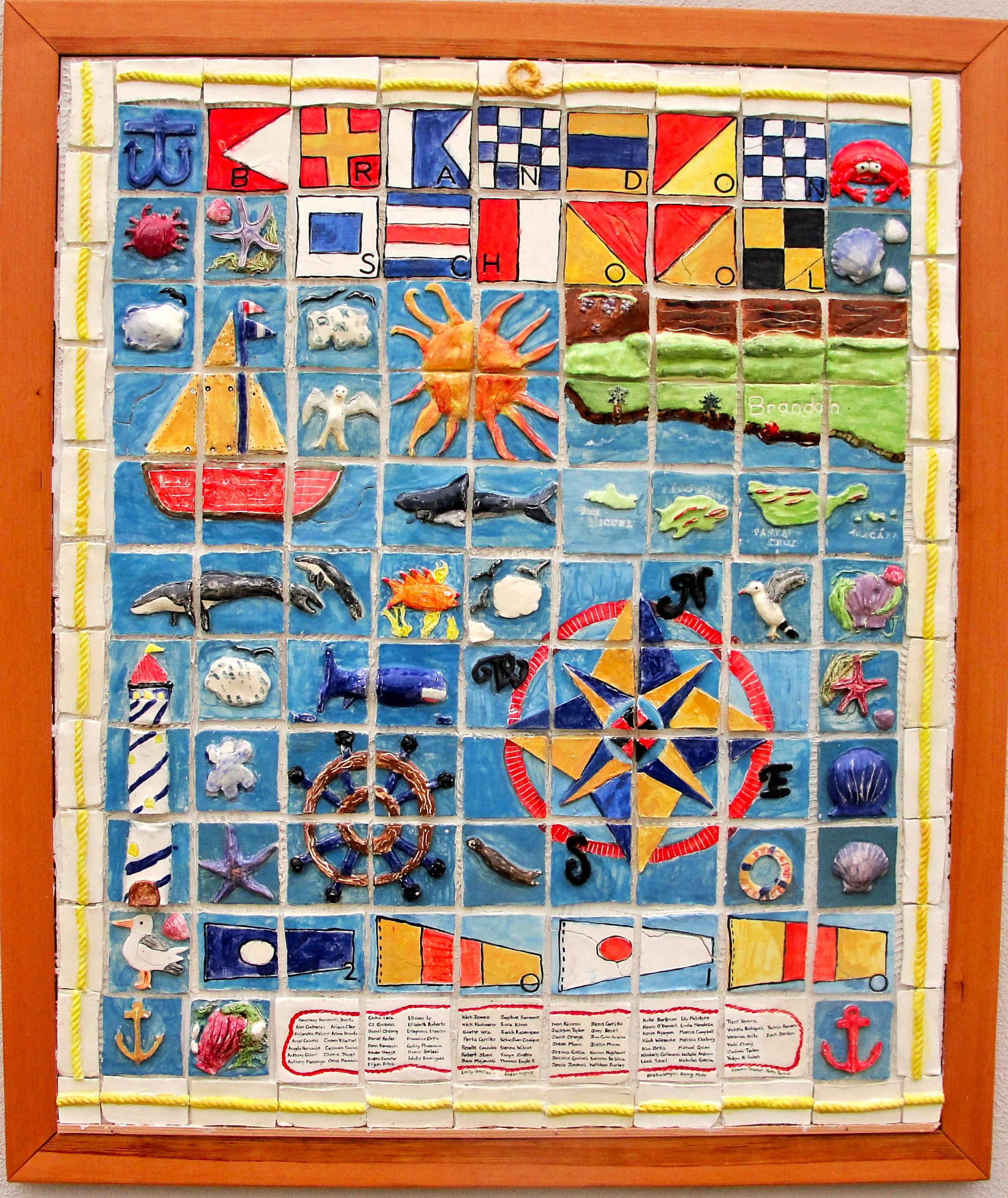 Nautical ceramic tile mural collaborative art project for for Artwork on tile ceramic mural