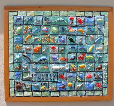 California Marine Life ceramic tile mural: collaborative art project for kids