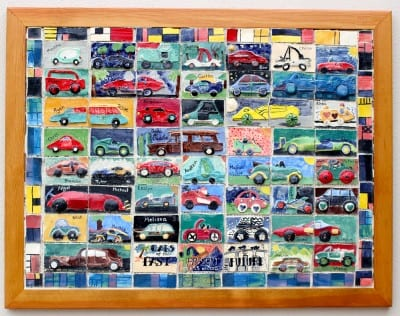 Cars: Past, Present & Future Collaborative Ceramic Tile Mural project for Kids