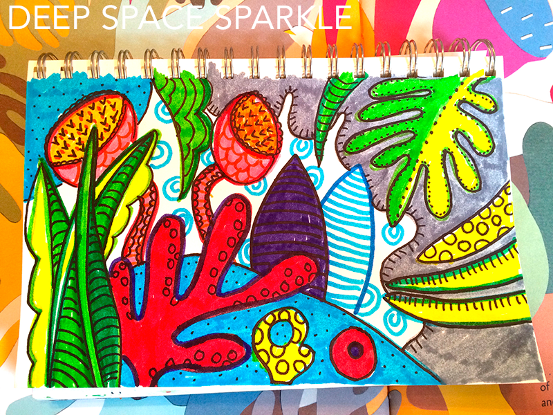 Easy drawing and coloring project for kids based on Matisse's Garden,