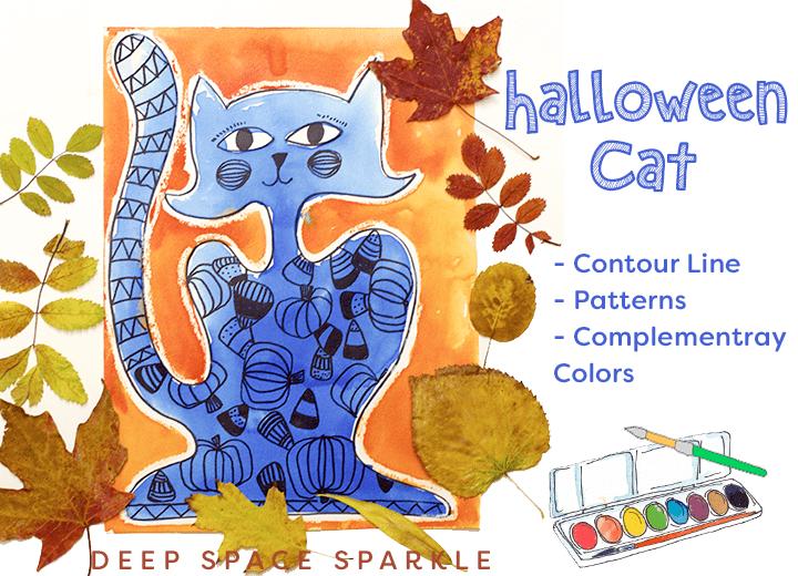 Contour Line Drawing Of A Cat : Contour cat watercolor project deep space sparkle