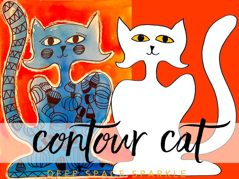 Contour Cat Watercolor Project