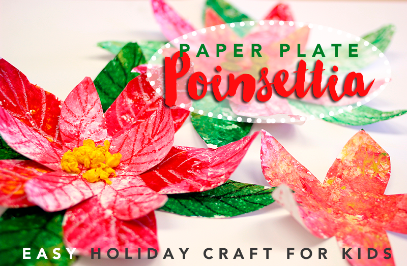 paper plate poinsettia Holiday craft for kids