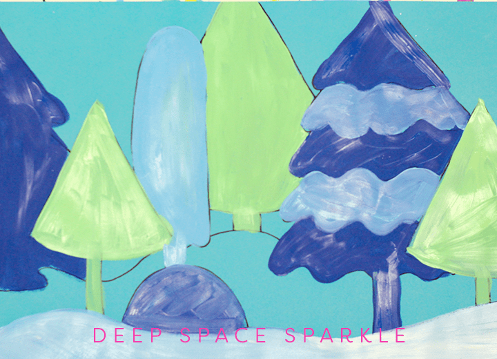 Create a snowy forest background for the Nutcracker project