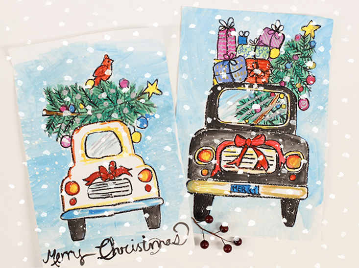 Christmas Art.How To Draw A Christmas Car Deep Space Sparkle