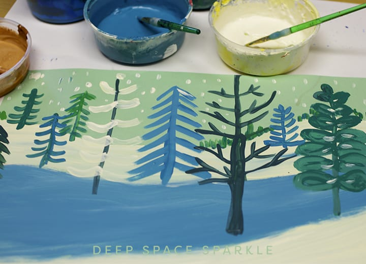 Winter landscape- painting the trees