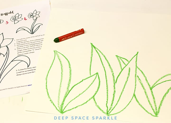 Spring Daffodil Art Projects for Kids: How to Draw a Daffodil- crayon & tempera paint