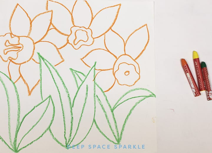 Daffodil Art projects with crayon and tempera paint
