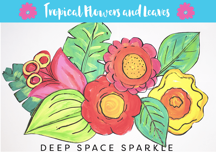 How to draw & paint large-scale tropical flowers and leaves from Deep Space Sparkle STEP 5