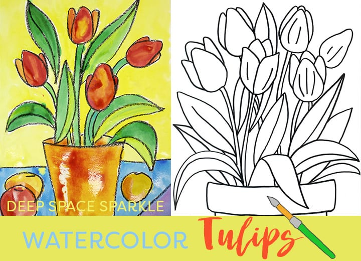 How to draw and paint a tulip: drawing guide and art lesson for kids