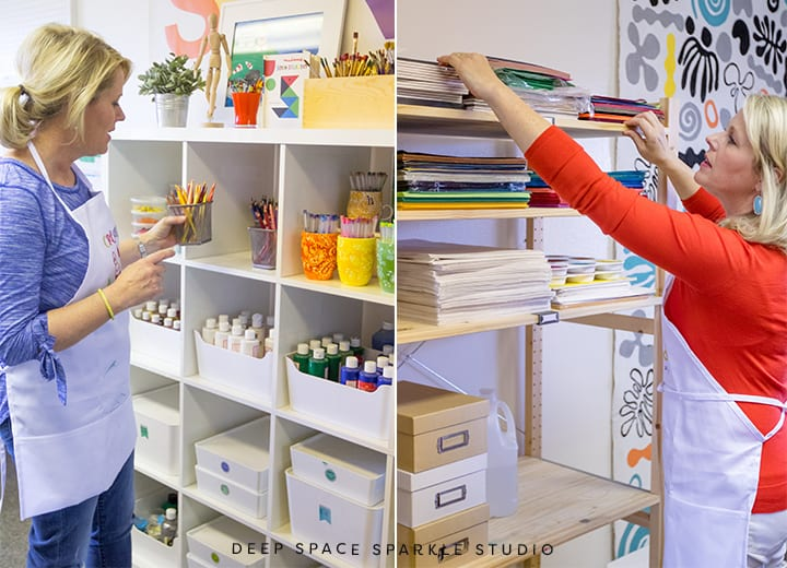 How Patty organizes her art supplies at the Deep Space Sparkle art studio and headquarters