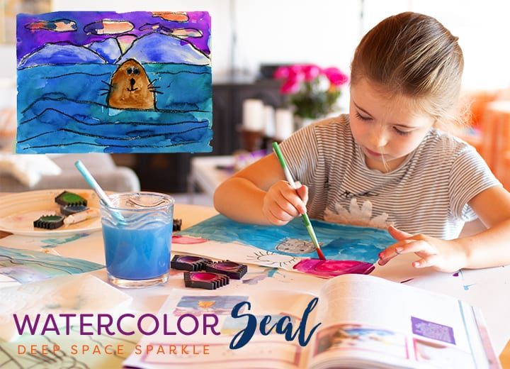Draw and paint a seal and ocean: Watercolor Seal Art project for Kids. From the book Draw, Paint, Sparkle
