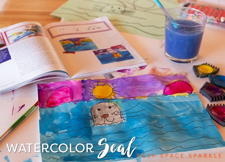 Draw and paint a seal in its natural habitat using oil pastel, watercolor paper and watercolor paints. Watercolor Seal from Draw, paint, Sparkle Art projects for Kids