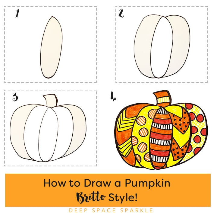 How to draw a pumpkin Britto Style