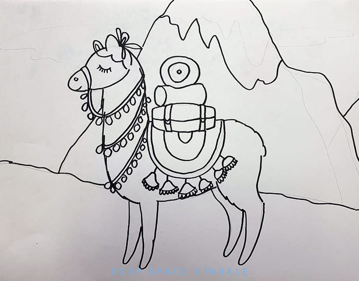 Llama drawing with marker