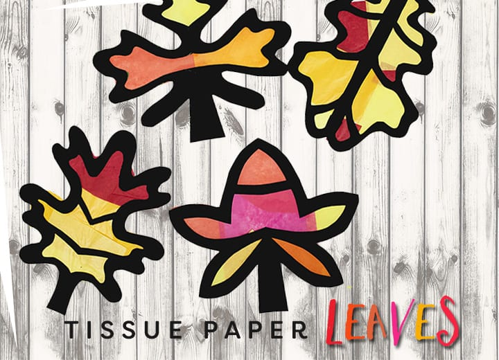 Fall Art Project for Kids: Leaf Silhouette with tissue paper