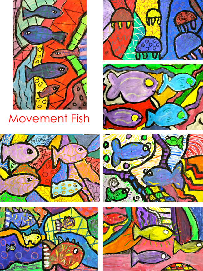 Teach children the elements of art: Movement Fish