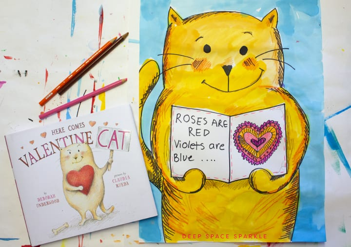 Watercolor cat for Valentines day