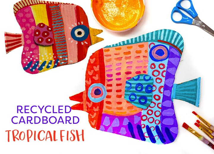 RECYCLED Tropical fish art project for Earth Day