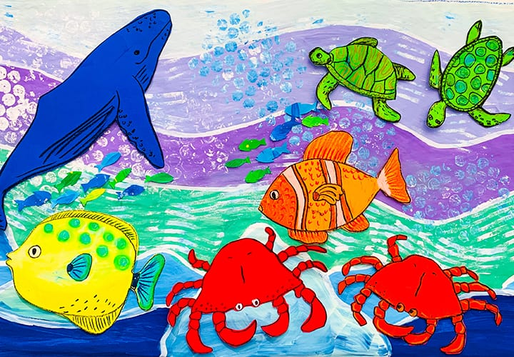 Marine collaborative mural for elementary school