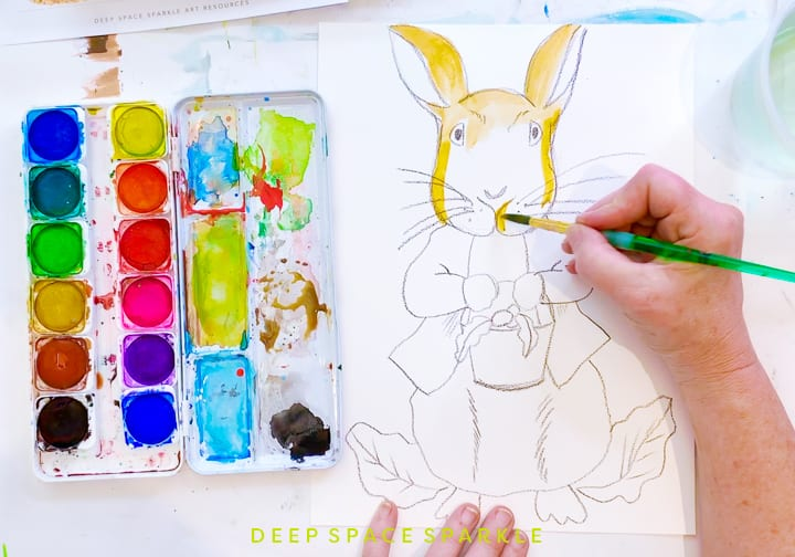 Painting Peter Rabbit with watercolors