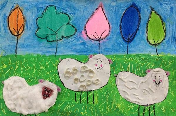 Little Lamb art project- Fiber Arts for Kids The Sparklers Club