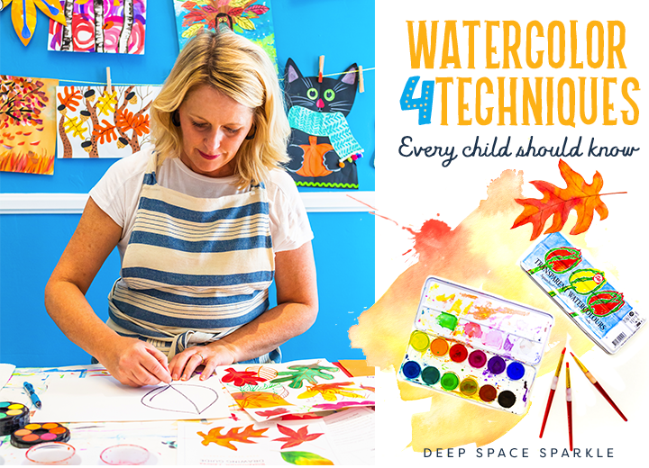 Patty Palmer of Deep Space Sparkle shows you 4 watercolor techniques to do with your kids