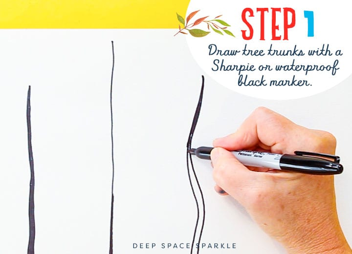Step 1 drawing and painting folk art trees