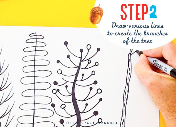 Step 2 drawing and painting folk art trees