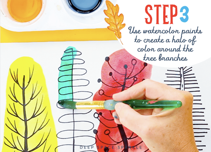 Step 3 drawing and painting folk art trees