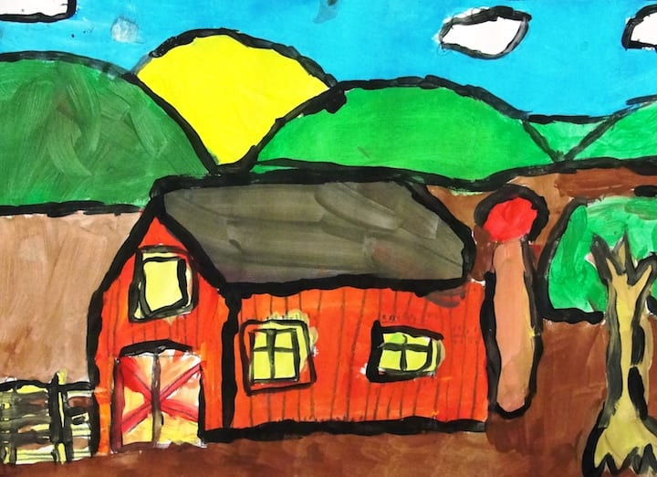 Barn after tempera paint- how to draw a barn
