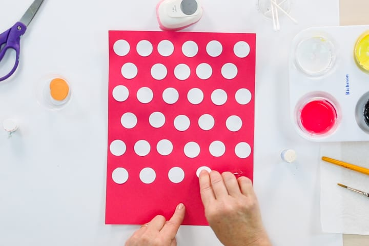 Cut and paste circles with contrasting colored paper