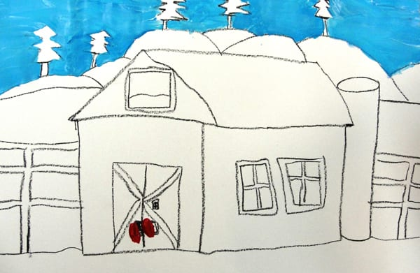 Outline of barn before tempera paint- how to draw a barn