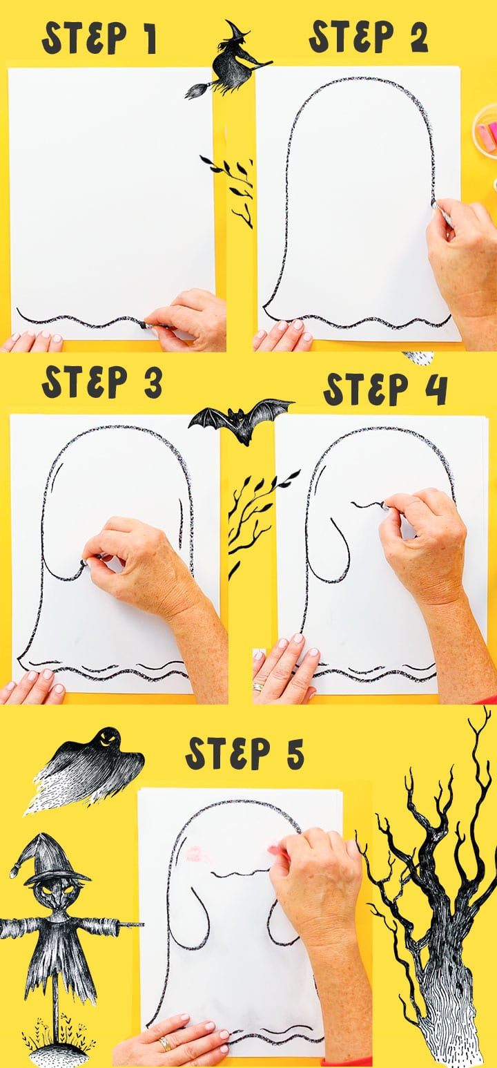 how to draw funny face ghost