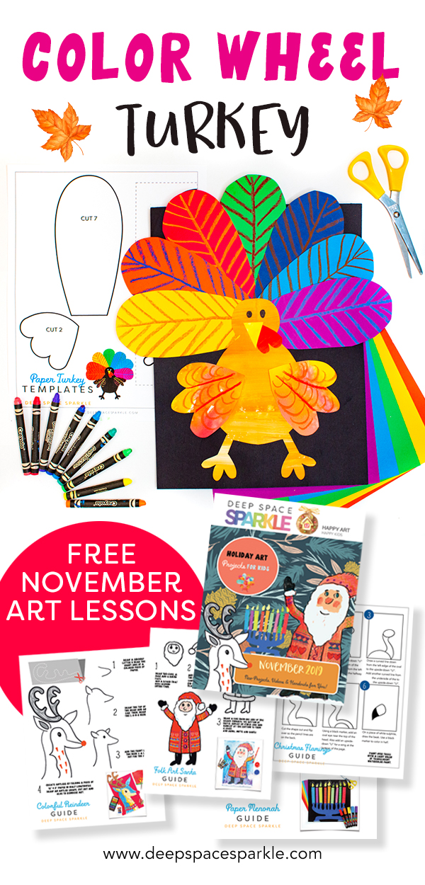 Color wheel turkeysart project for kids thanksgiving fall seasonal art