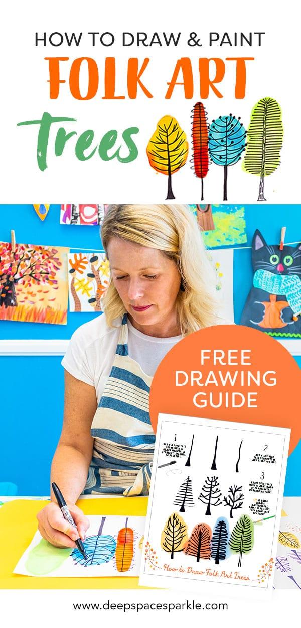 Free drawing guide download- folk art trees