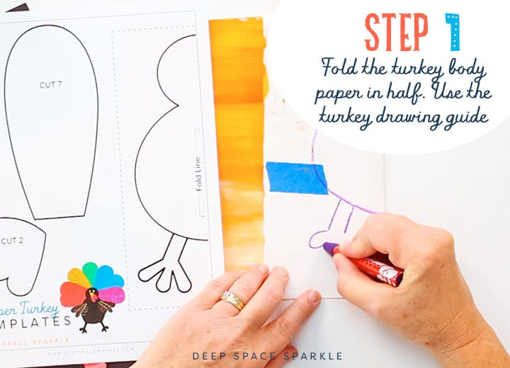 how to draw turkey step 1