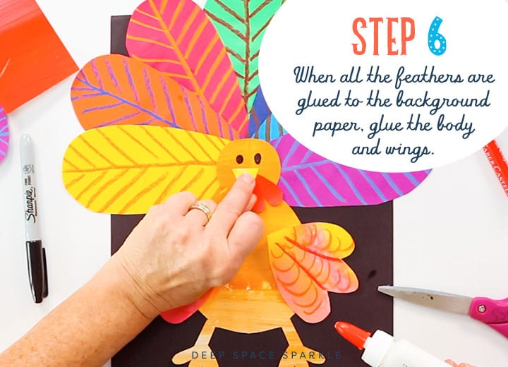 thanksgiving turkey step 6 glue paper feathers