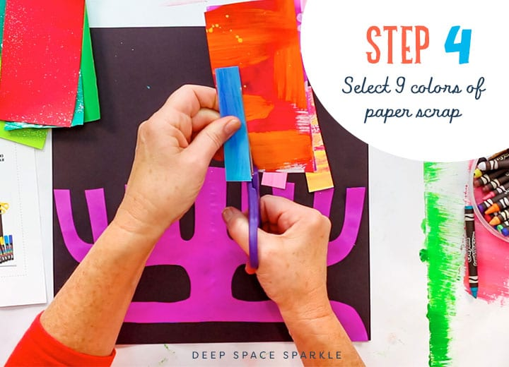 paper menorah select 9 colors to use