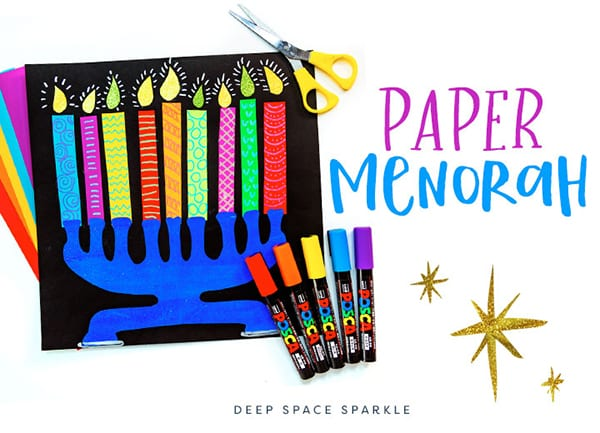 making a paper menorah project craft