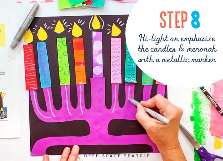 making a paper menorah metallic marker hi-light emphasize