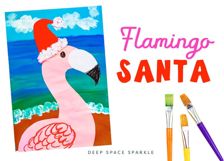christmas flamingo santa art project for kids