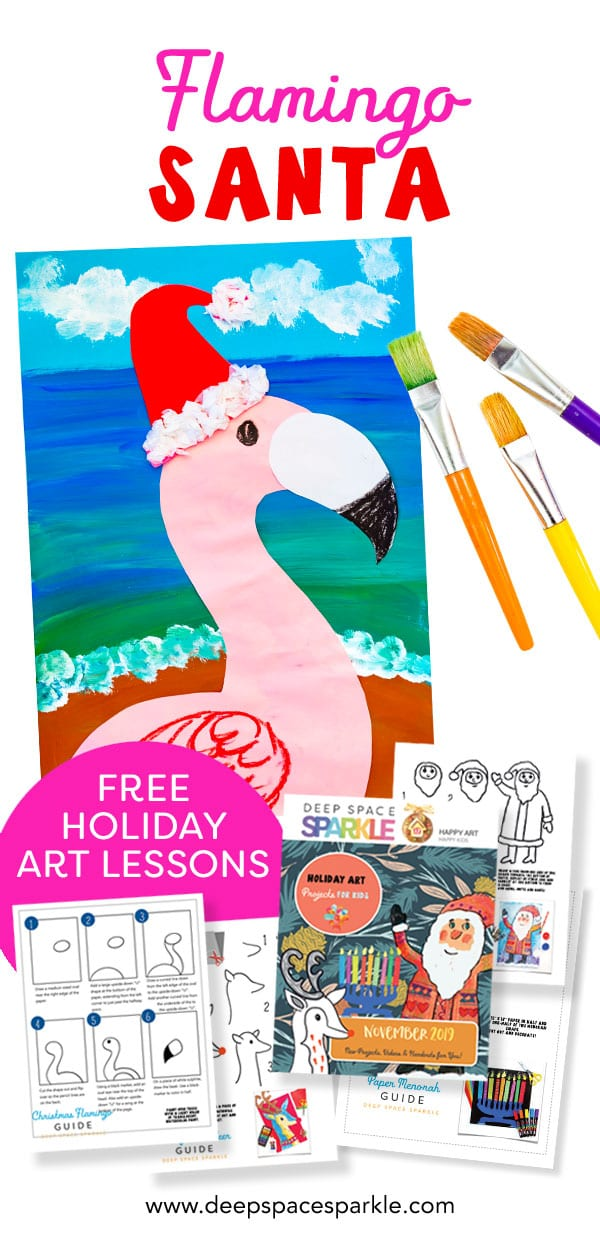 christmas flamingo santa kids art project craft for holidays
