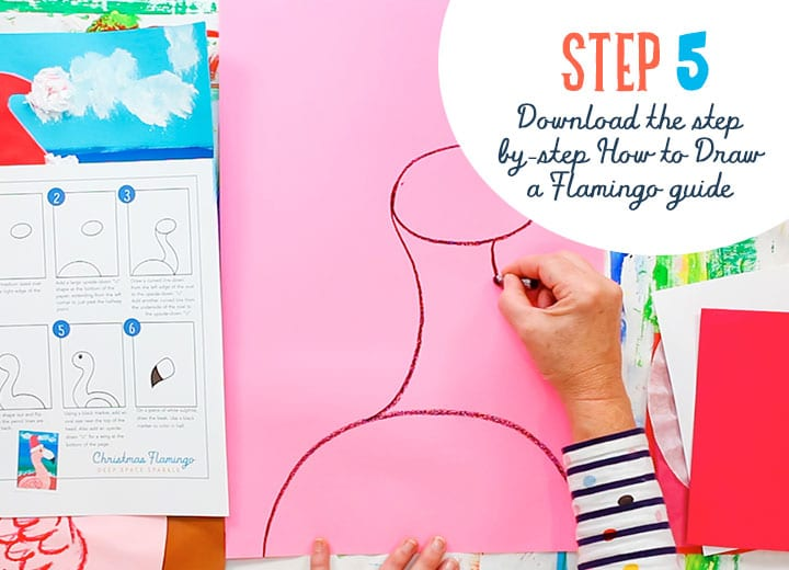 flamingo santa download drawing guide project for kids