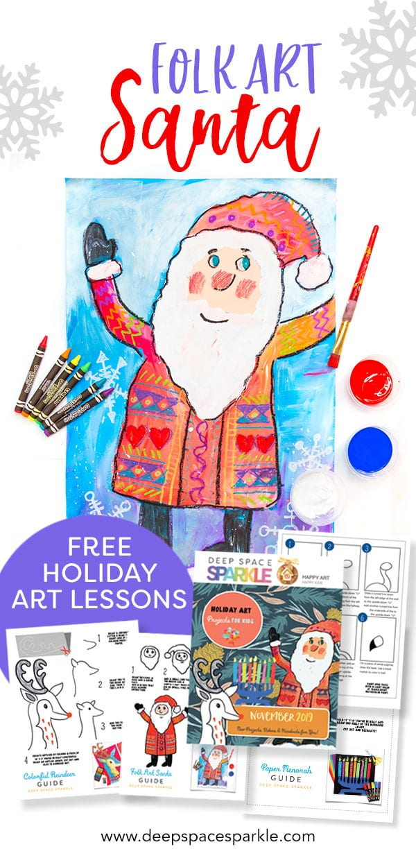 folk art santa holiday art project pin for kids
