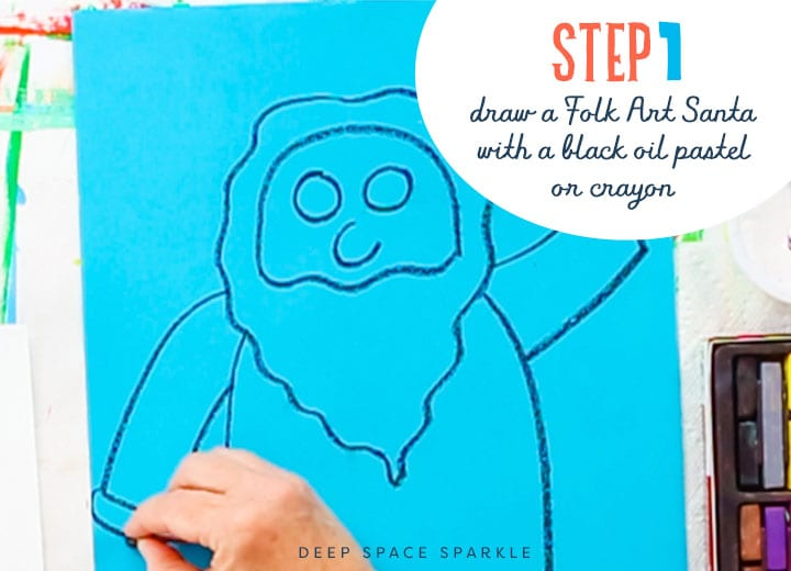 drawing the folk art santa with oil pastel step 1