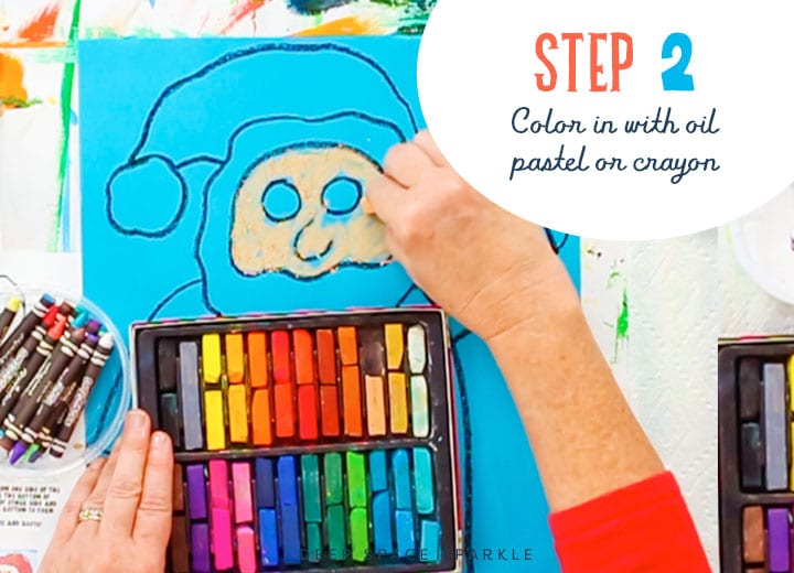 how to draw a folk art santa drawing chalk pastel