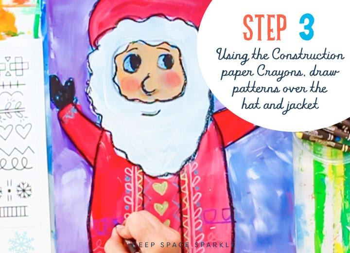 how to draw and create a folk art santa step 3